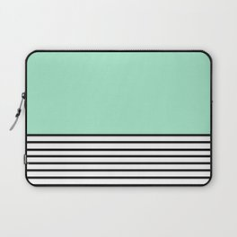 Fresh Mint Black and White stripes pattern Laptop Sleeve
