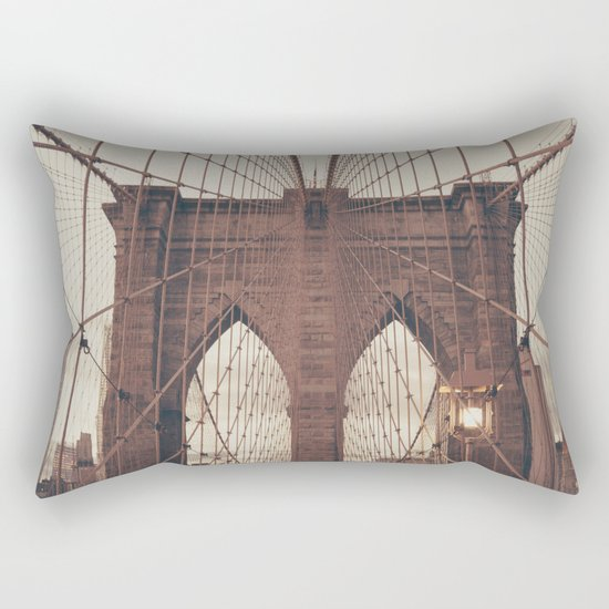 Moody Brooklyn Bridge Rectangular Pillow