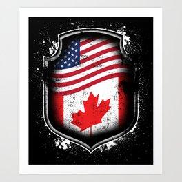 Canadian American Flag Art Print