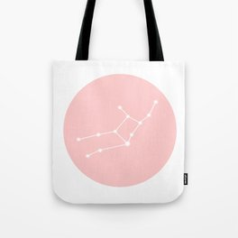 Virgo Star Sign Soft Pink Circle Tote Bag