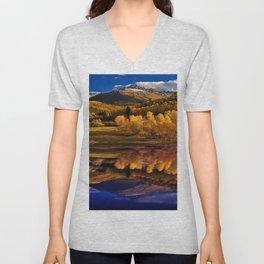 Autumn Mountain Landscape Unisex V-Neck