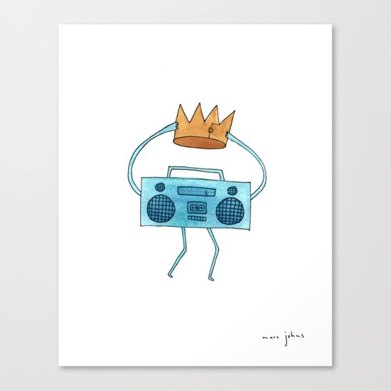 boombox holding a paper crown Canvas Print