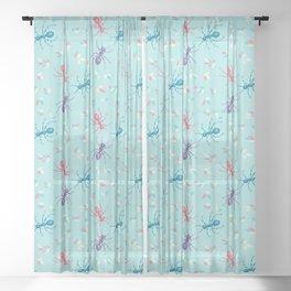 Cute Ants In Pastel Tones Sheer Curtain