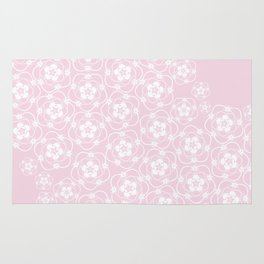 White Floral Lace Rug