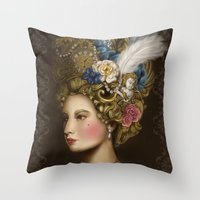 marie antoinette Throw Pillows featuring Marie Antoinette by 8tephanie 8anchez