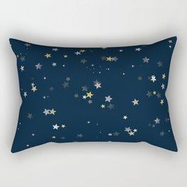 Gold & Silver Stars on Navy Blue pattern Rectangular Pillow