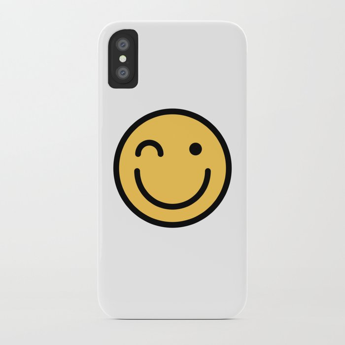 Smiley Face Squinting Big Smiling Happy Smileys iPhone Case by dogboo