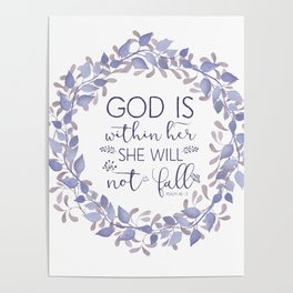 Christian Bible Verse Quote - Psalm 46-5 Poster