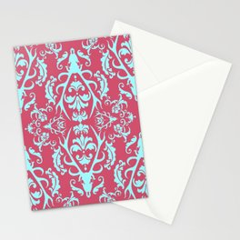 Stag Damask in Pink and Blue Stationery Cards