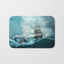 Shipwreck in storm Bath Mat