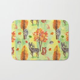 Woodland Watercolor animals Bath Mat