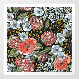 Retro Vintage Floral Arrangement On Black Background Art Print
