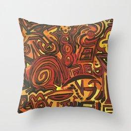 Orange Symbols Throw Pillow