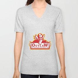 Outlaw Holding Sign Retro Unisex V-Neck