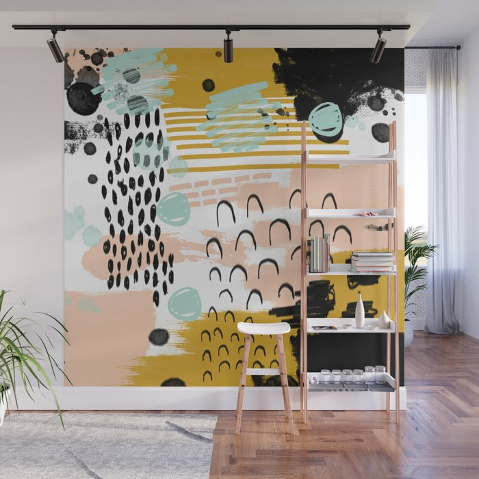 Ames Abstract Painting Hipster Home Decor Trendy Color Palette Art Gifts Wall Mural By Charlottewinter Society6
