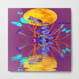 BLUE BUTTERFLIES & MOON WATER GARDEN  REFLECTION Metal Print