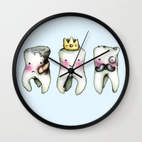 tooth Wall Clocks featuring Rotten Tooth, Crowned Tooth and Wisdom Tooth by Hungry Designs