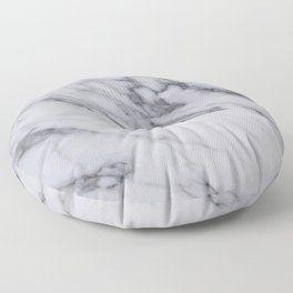Marble - Black and White Gray Swirled Marble Design Floor Pillow