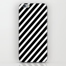 Black and White Diagonal Stripes iPhone Skin