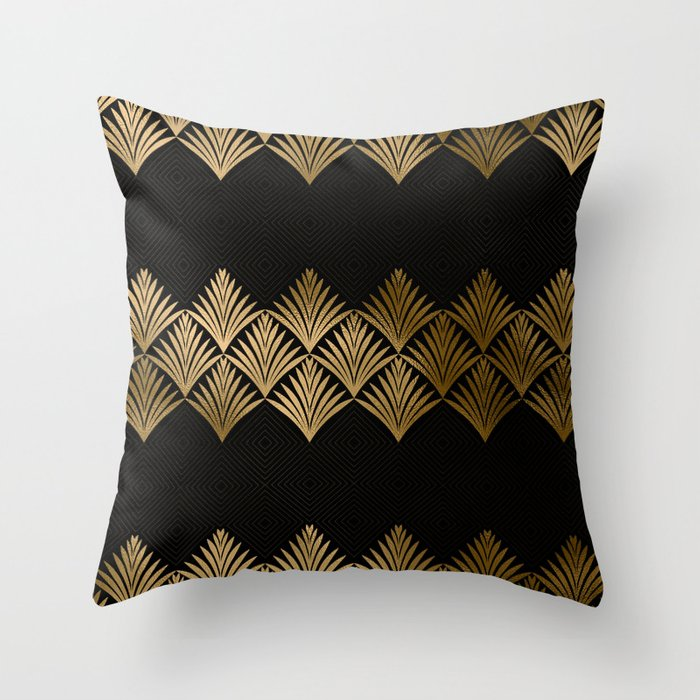 Art Deco Throw Pillows.Reims France Luxueux Black And Gold Art Deco Throw Pillow By Dec02