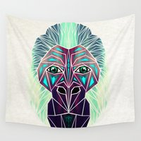 gorilla Wall Tapestries featuring gorilla by Manoou