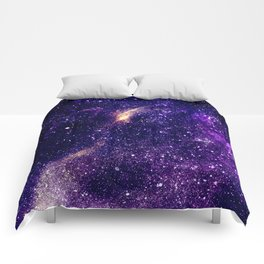 Ultra violet purple abstract galaxy Comforters
