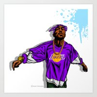 lakers Art Prints featuring Lakers Mood by Mike Farhat Art Mobb