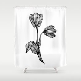 black and white flower drawing Shower Curtain