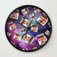 nutella Wall Clocks featuring NUTELLA NEBULA by SteffiMetal