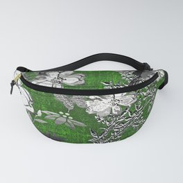 Birds Green Gray White Toile Fanny Pack