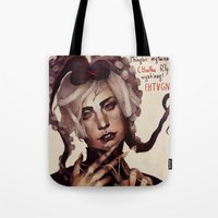 cthulhu Tote Bags featuring CTHULHU by MYLÈNE BRAGINA