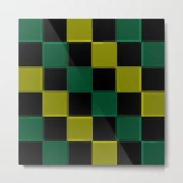 Green Checkerboard  Metal Print