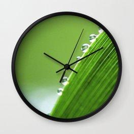 On The Edge Of Green - Water Drops Macro Wall Clock