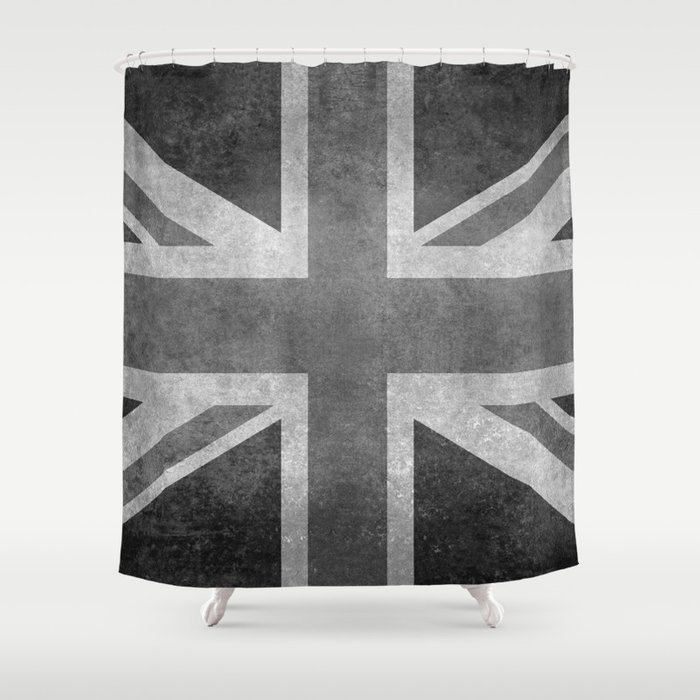 British Union Jack flag 1:2 scale retro grunge Shower Curtain
