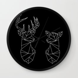 Geometric Stag and Doe (White on Black) Wall Clock