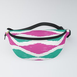 Summer Jumbo Zoom Scale Ikat Print in Magenta and Turquoise Fanny Pack