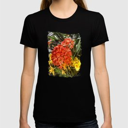 Orange Spring Flowers and Yellow Daffodils T-shirt