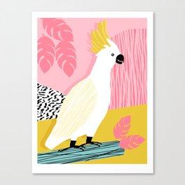 FeelFree - memphis throwback retro bird tropical nature animal parrot cockatoo 1980s 80s pop art Canvas Print