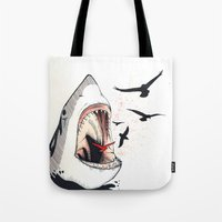 shark Tote Bags featuring shark by SOF.T