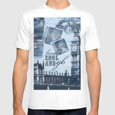 Anglophile Love White MEDIUM Mens Fitted Tee