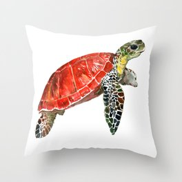 Sea Turtle red green turtle design, trutle illustration Throw Pillow