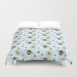 Bumble Bees and Flowers Duvet Cover