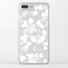 Christmas Snowflakes Bokeh Silver Pattern Clear iPhone Case