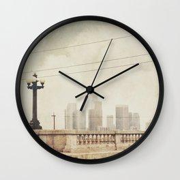 downtown Los Angeles skyline photograph. June Gloom Wall Clock
