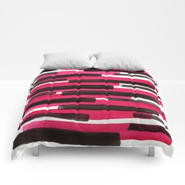 Magenta Primitive Stripes Mid Century Modern Minimalist Watercolor Gouache Painting Colorful Str Comforters