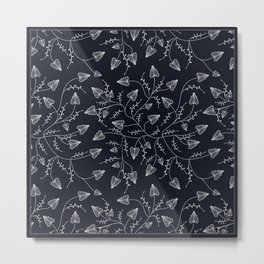 Delicate leaves on a black background . Metal Print