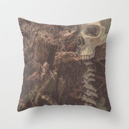 Catacomb Culture - Lost in the Woods Human Skull Throw Pillow