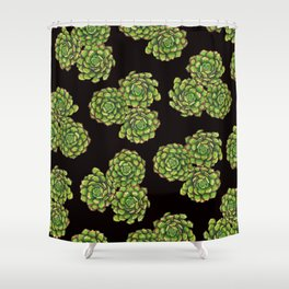 Green Succulents on Black Shower Curtain