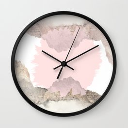 Pale Pink on Mountains Wall Clock