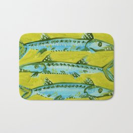 Barracuda on Yellow Bath Mat